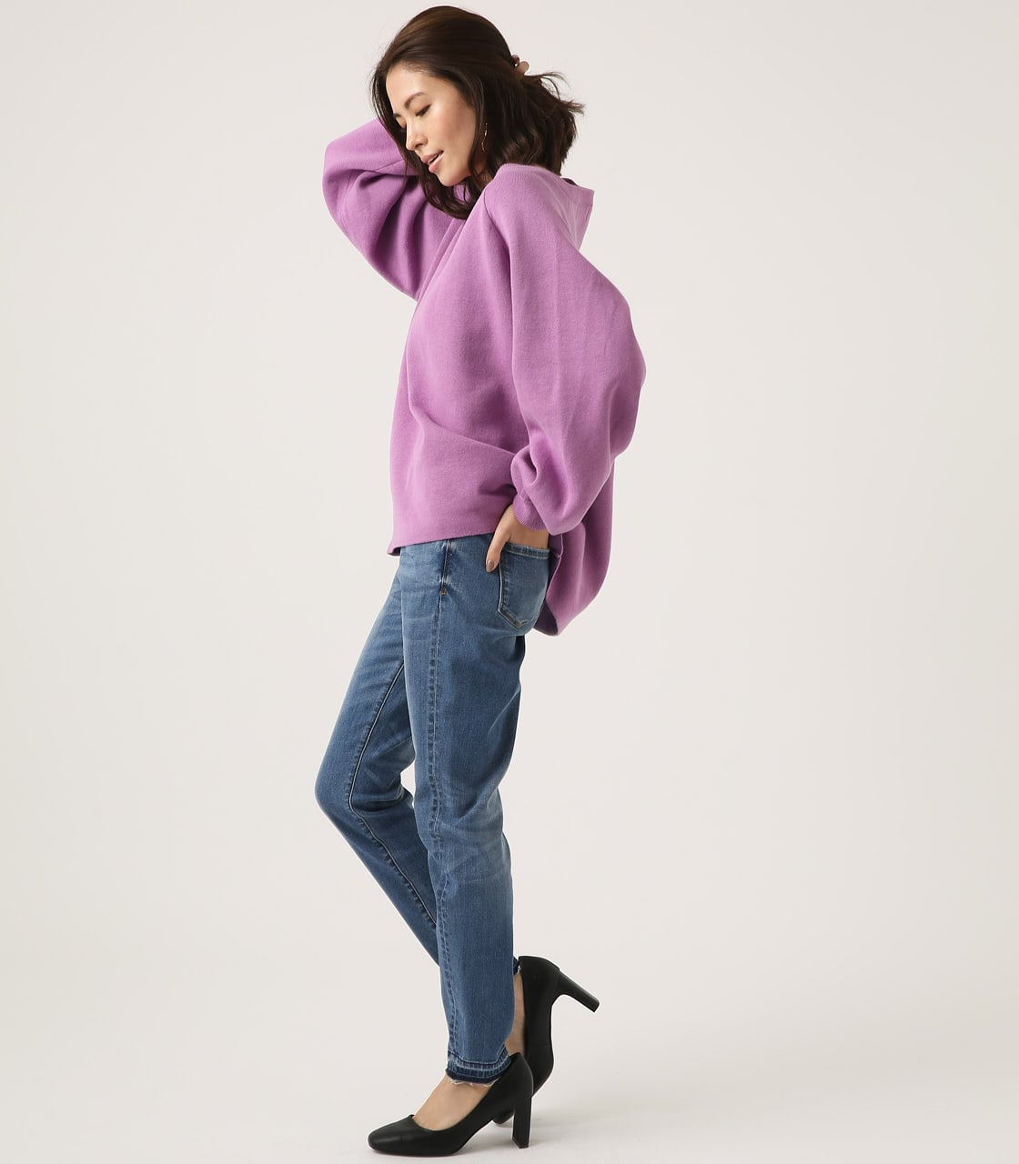【AZUL BY MOUSSY】SWEATTER Vネック LOOSE TOPS 詳細画像 L/PUR 4