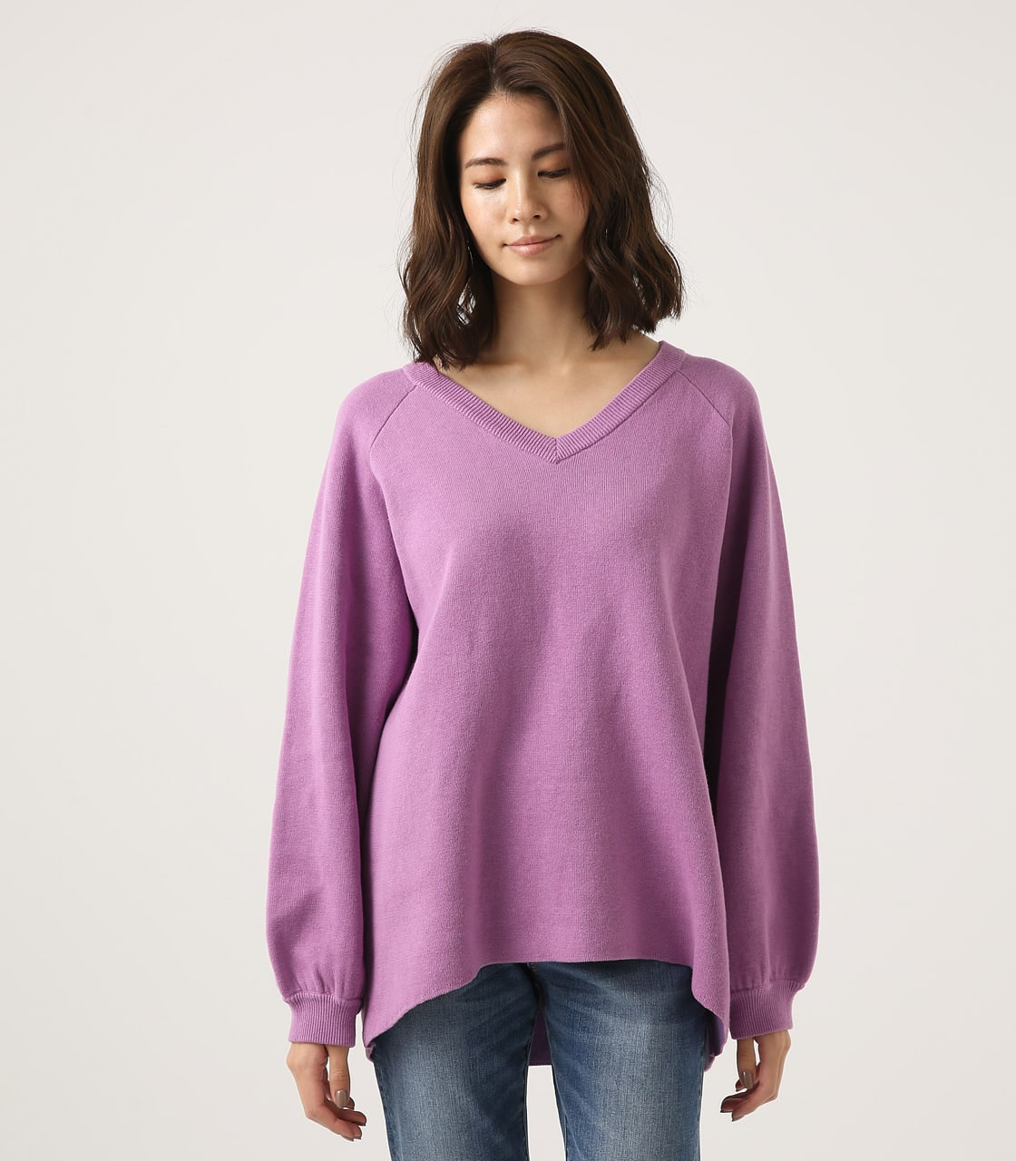 【AZUL BY MOUSSY】SWEATTER Vネック LOOSE TOPS 詳細画像 L/PUR 5