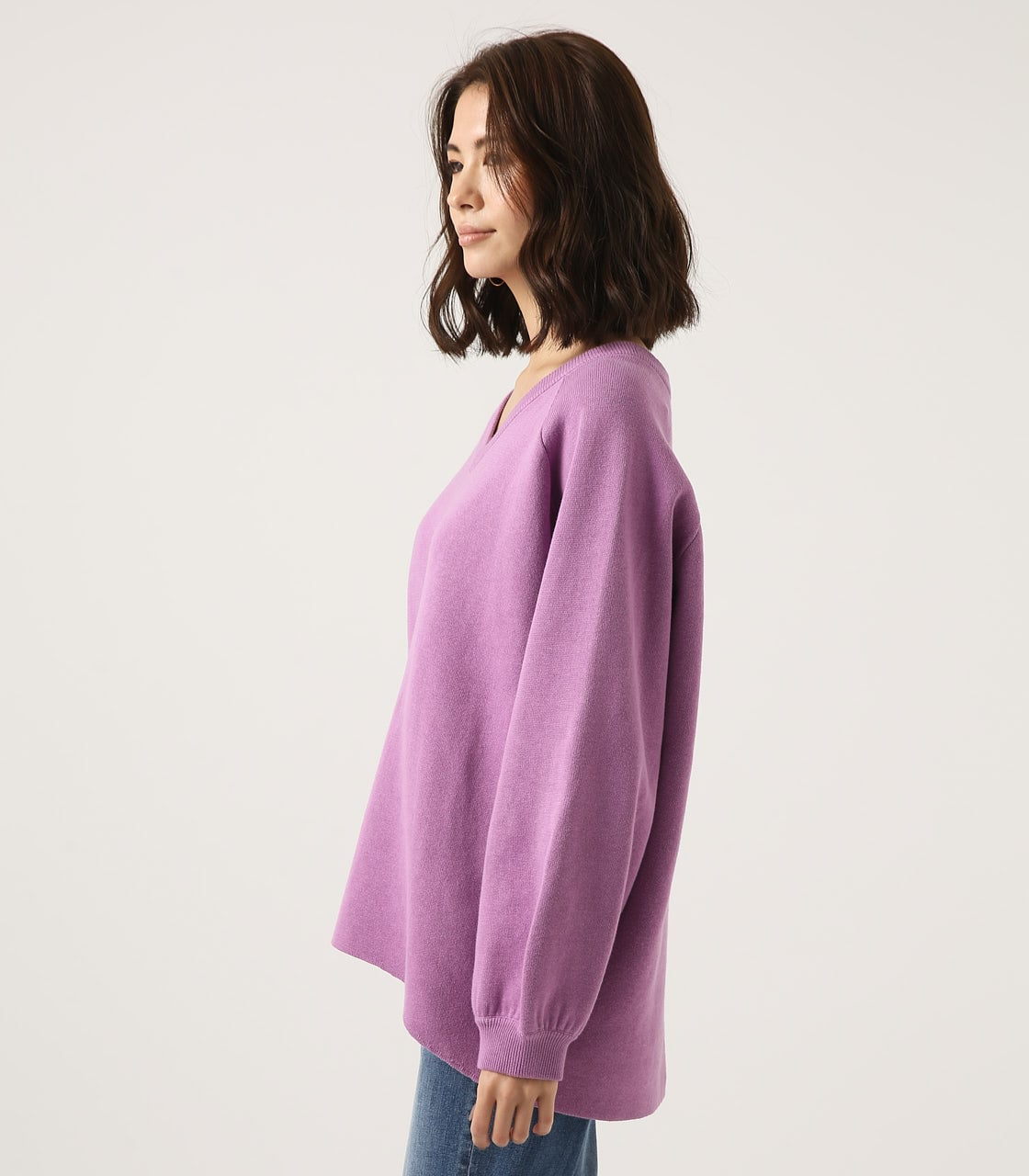 【AZUL BY MOUSSY】SWEATTER Vネック LOOSE TOPS 詳細画像 L/PUR 6