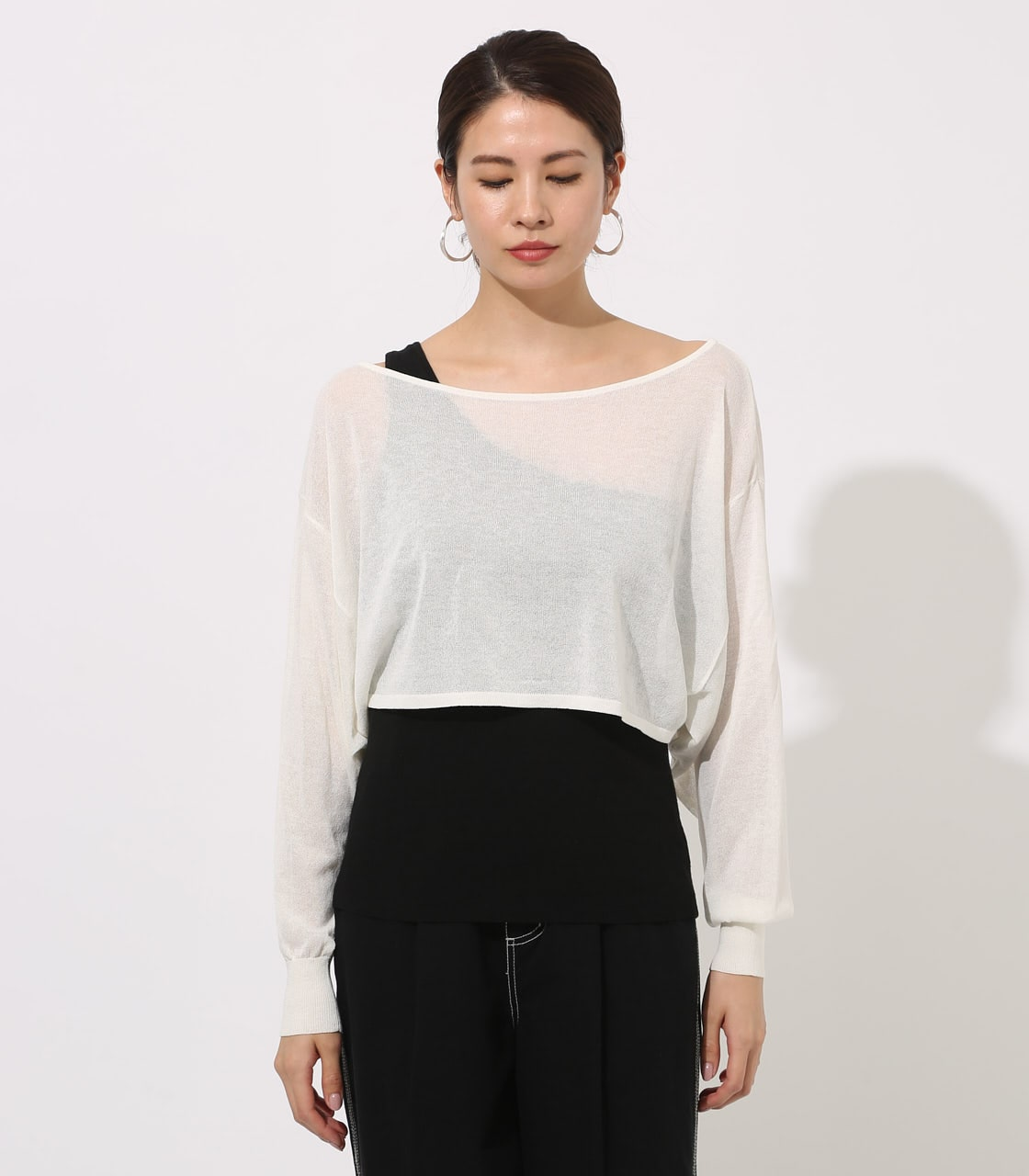 【AZUL BY MOUSSY】ONE-SHOULDER KNIT SET TOPS 詳細画像 O/WHT 5