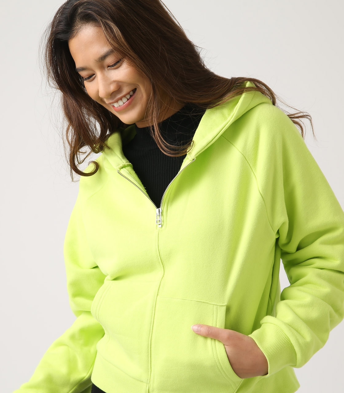 【AZUL BY MOUSSY】HALF ZIP HOODIE 詳細画像 LIME 1