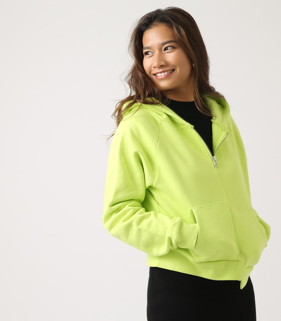 【AZUL BY MOUSSY】HALF ZIP HOODIE 詳細画像 LIME 3