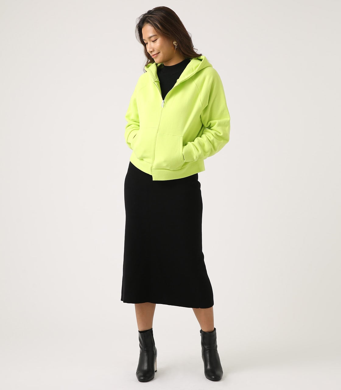 【AZUL BY MOUSSY】HALF ZIP HOODIE 詳細画像 LIME 4