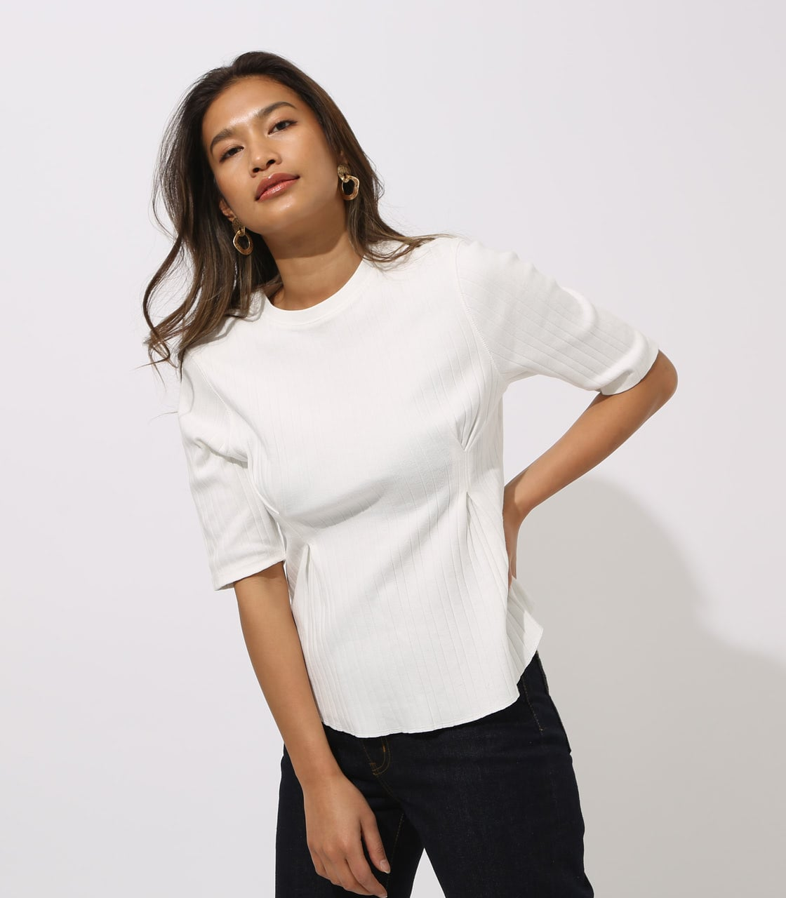 【AZUL BY MOUSSY】WAIST TUCK WIDE RIB TOPS 詳細画像 O/WHT 1