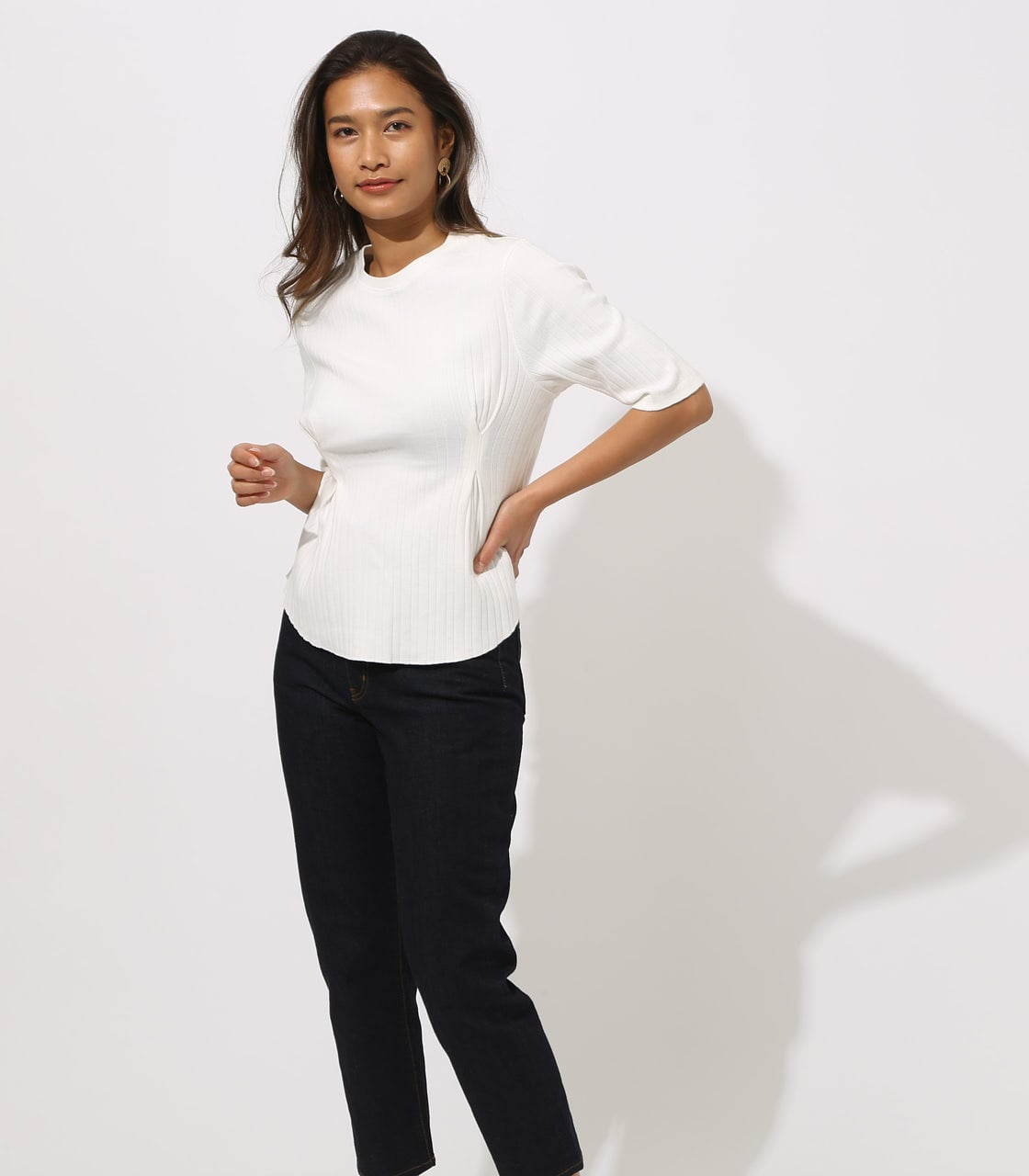 【AZUL BY MOUSSY】WAIST TUCK WIDE RIB TOPS 詳細画像 O/WHT 3