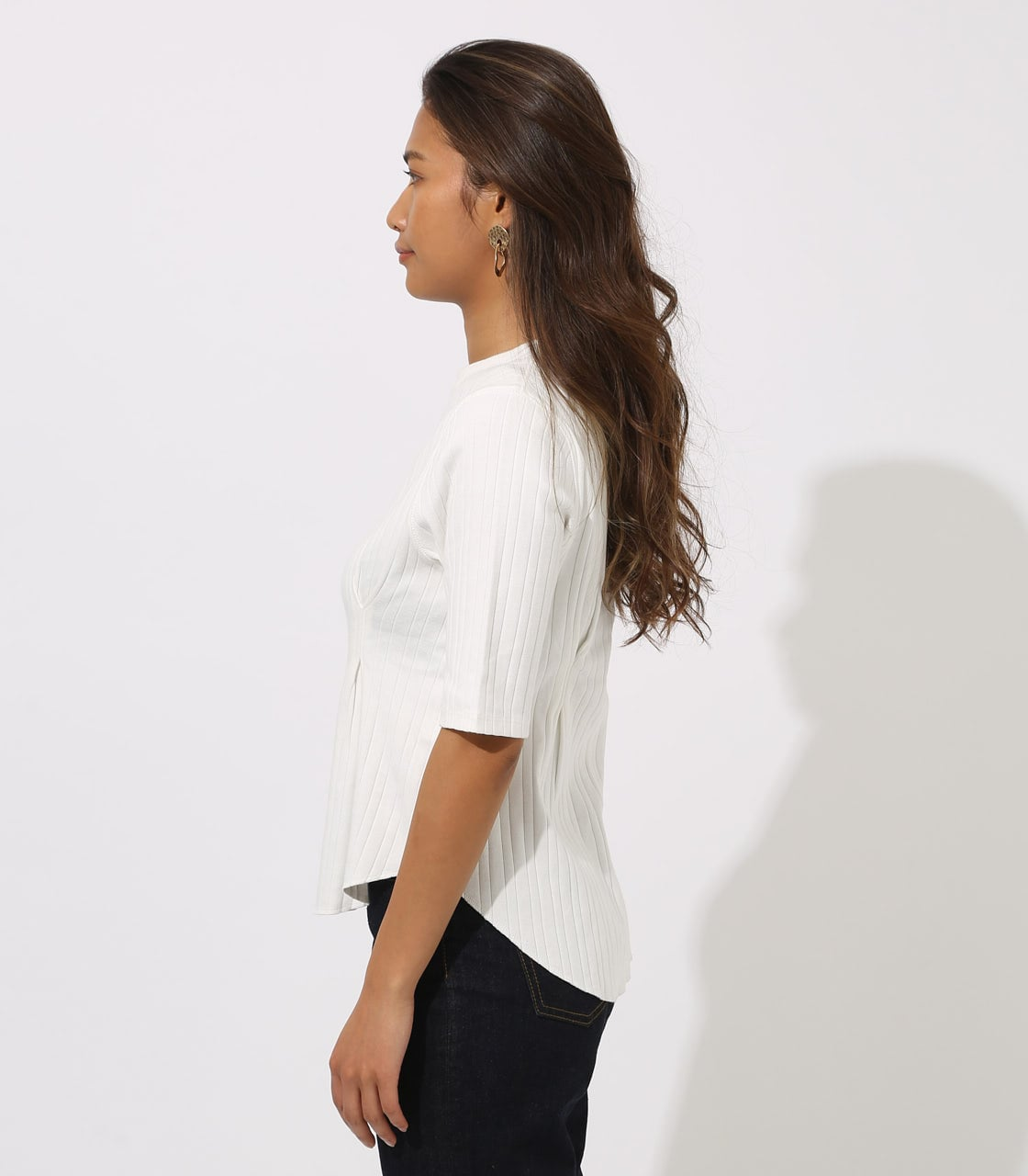 【AZUL BY MOUSSY】WAIST TUCK WIDE RIB TOPS 詳細画像 O/WHT 6