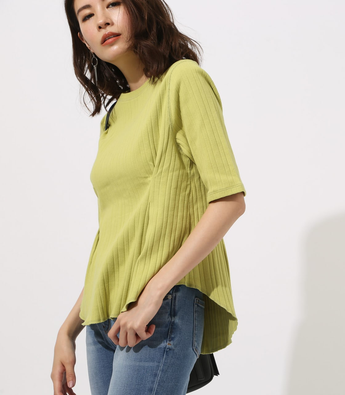 【AZUL BY MOUSSY】WAIST TUCK WIDE RIB TOPS 詳細画像 LIME 1