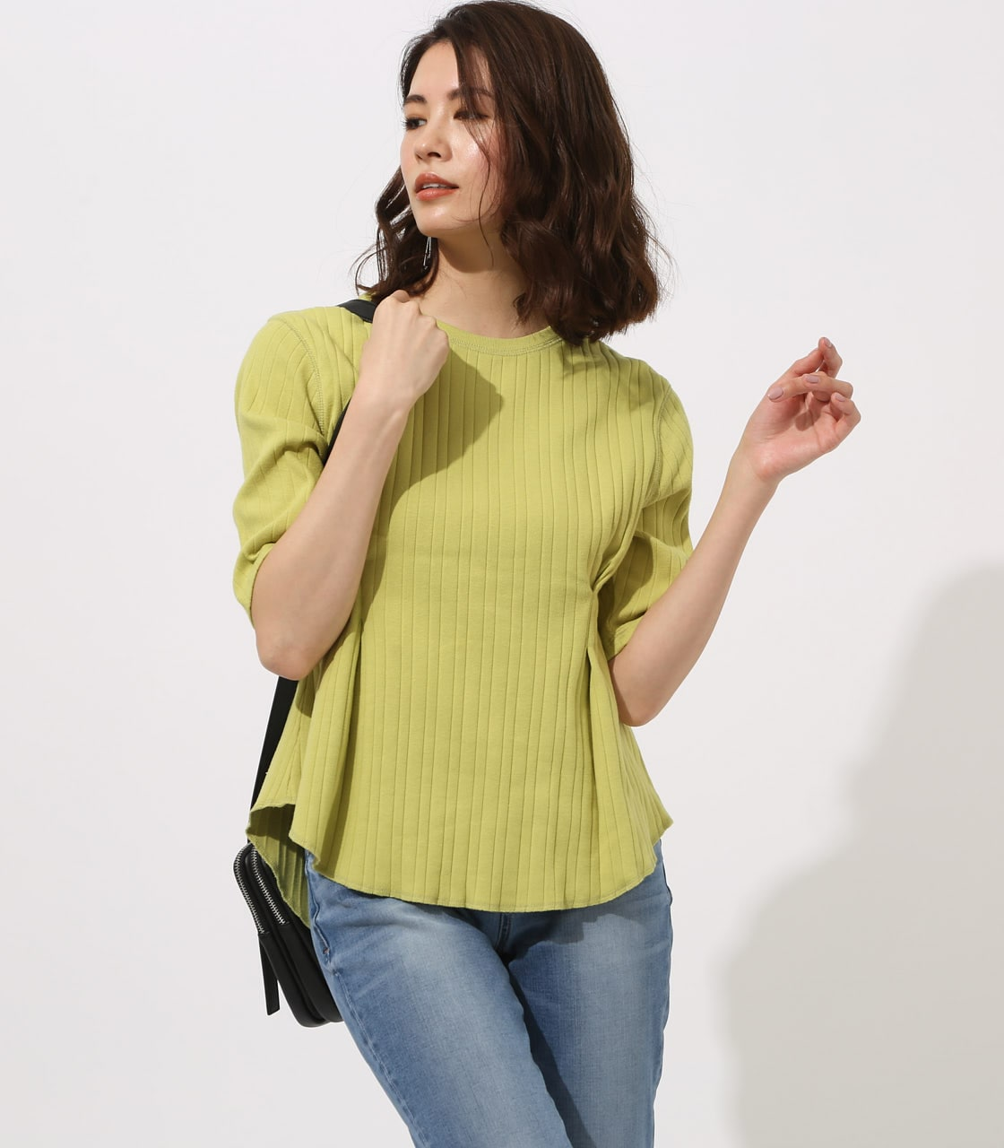 【AZUL BY MOUSSY】WAIST TUCK WIDE RIB TOPS 詳細画像 LIME 2