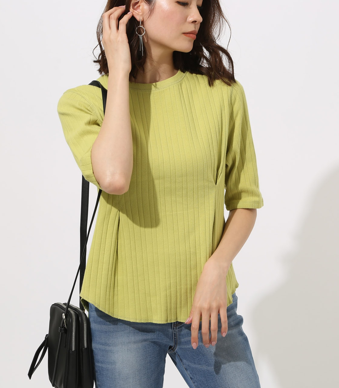 【AZUL BY MOUSSY】WAIST TUCK WIDE RIB TOPS 詳細画像 LIME 3