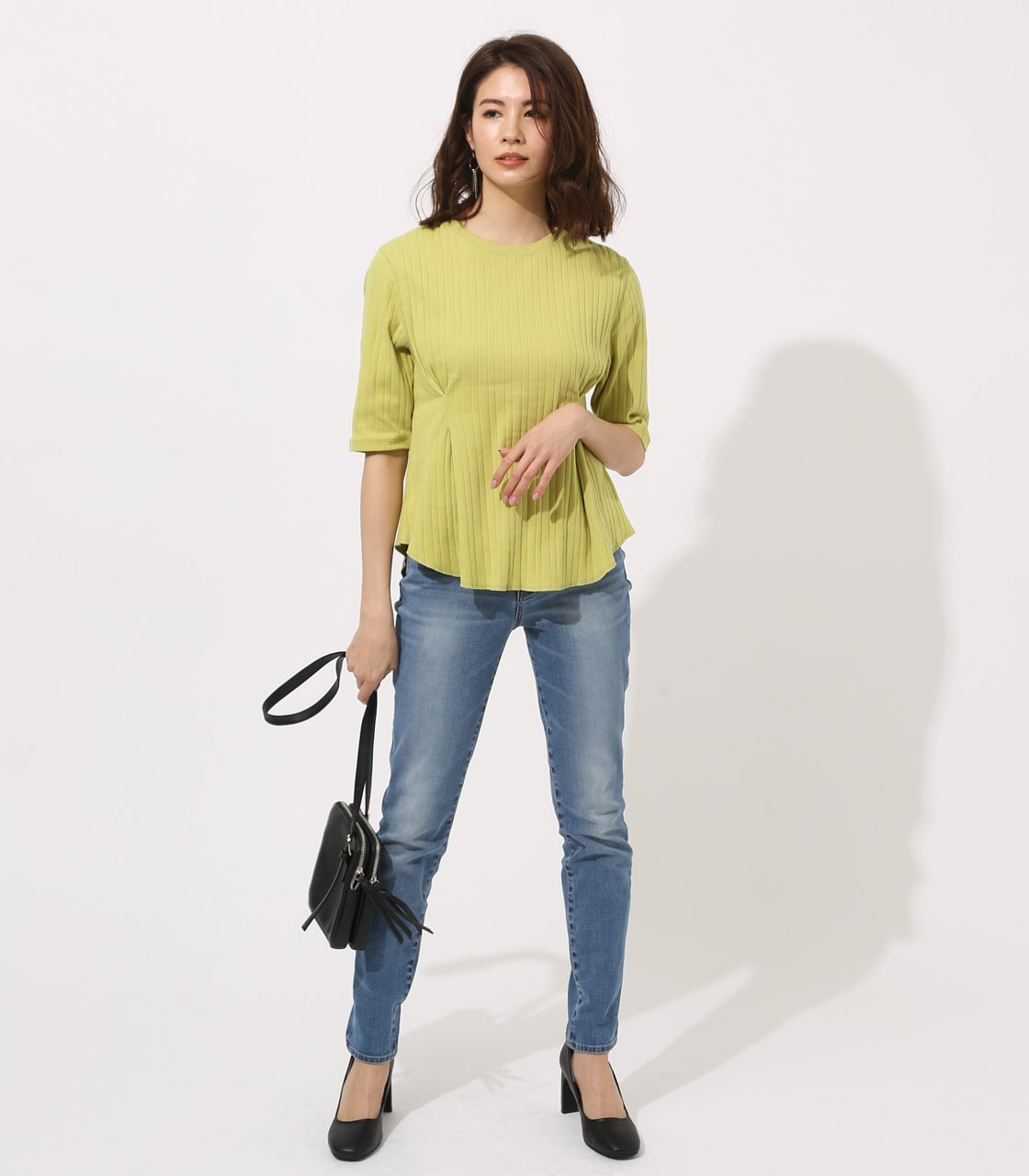 【AZUL BY MOUSSY】WAIST TUCK WIDE RIB TOPS 詳細画像 LIME 4
