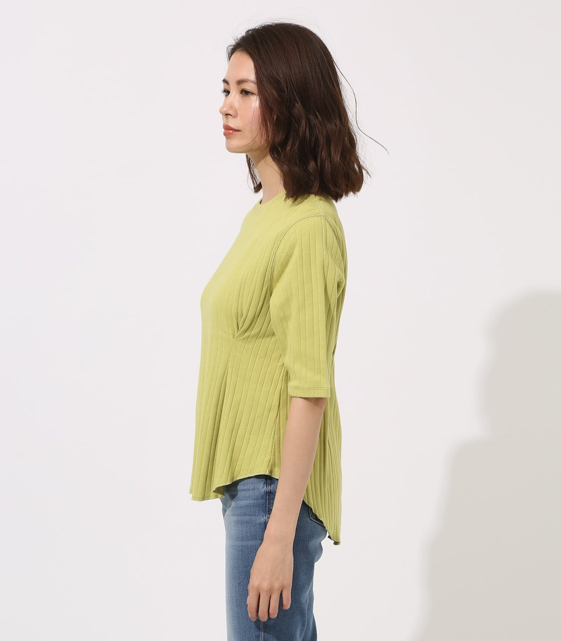 【AZUL BY MOUSSY】WAIST TUCK WIDE RIB TOPS 詳細画像 LIME 6