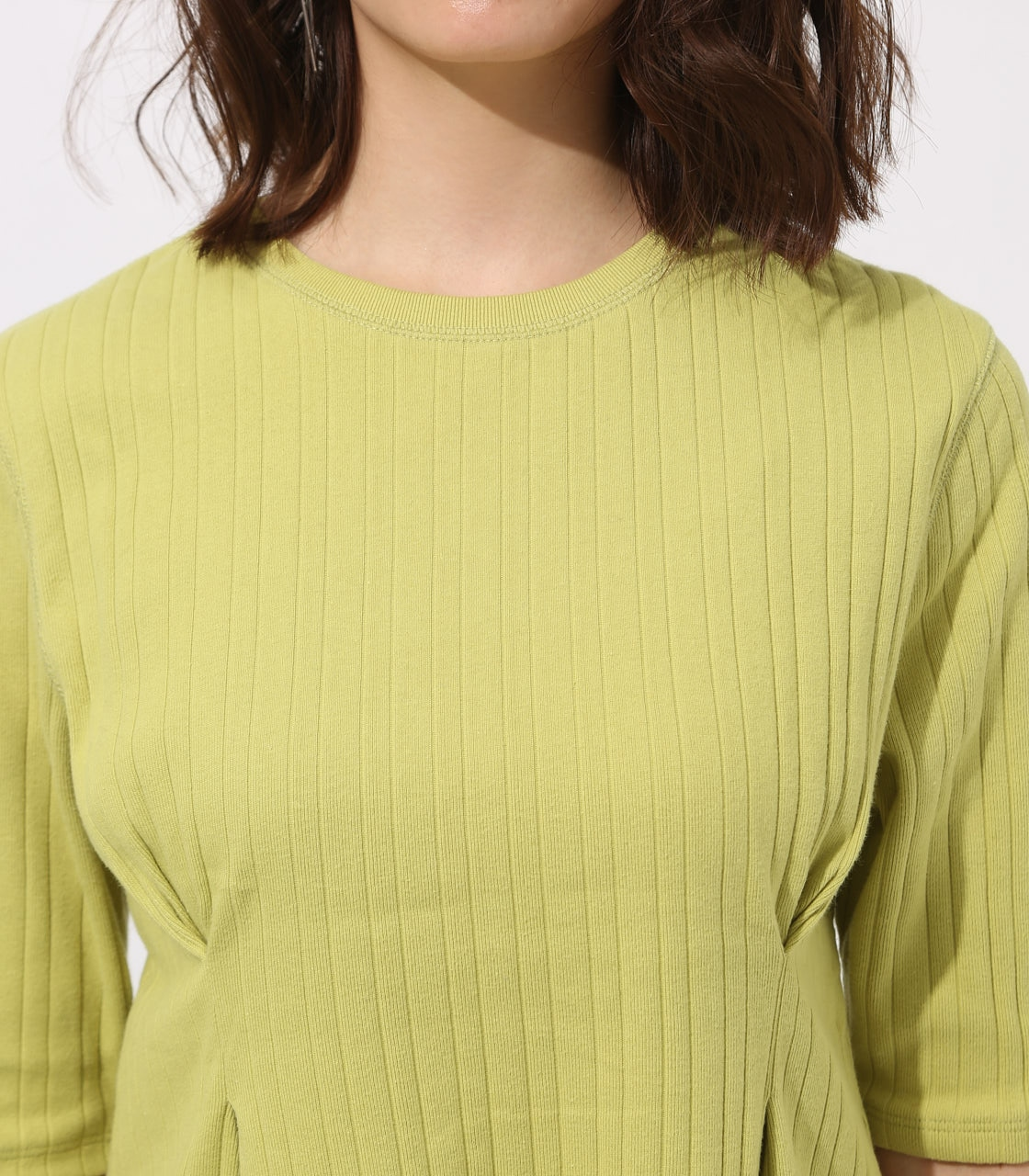 【AZUL BY MOUSSY】WAIST TUCK WIDE RIB TOPS 詳細画像 LIME 8