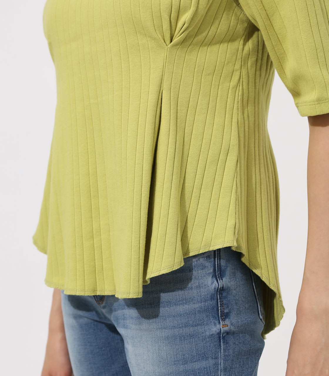 【AZUL BY MOUSSY】WAIST TUCK WIDE RIB TOPS 詳細画像 LIME 9