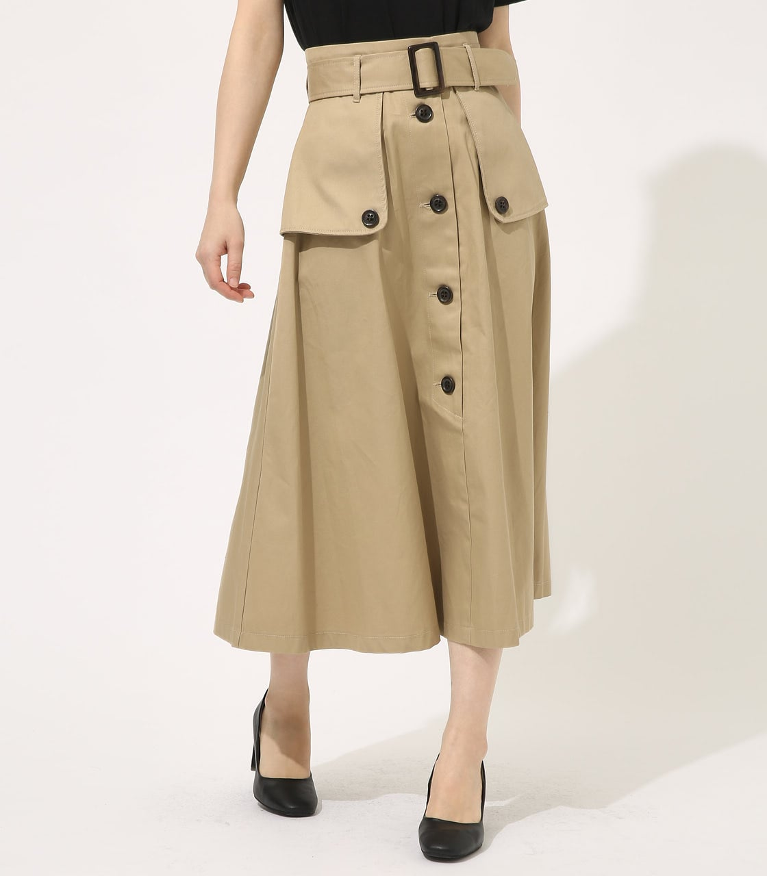 【AZUL BY MOUSSY】TRENCH FLARE SKIRT 詳細画像 BEG 1