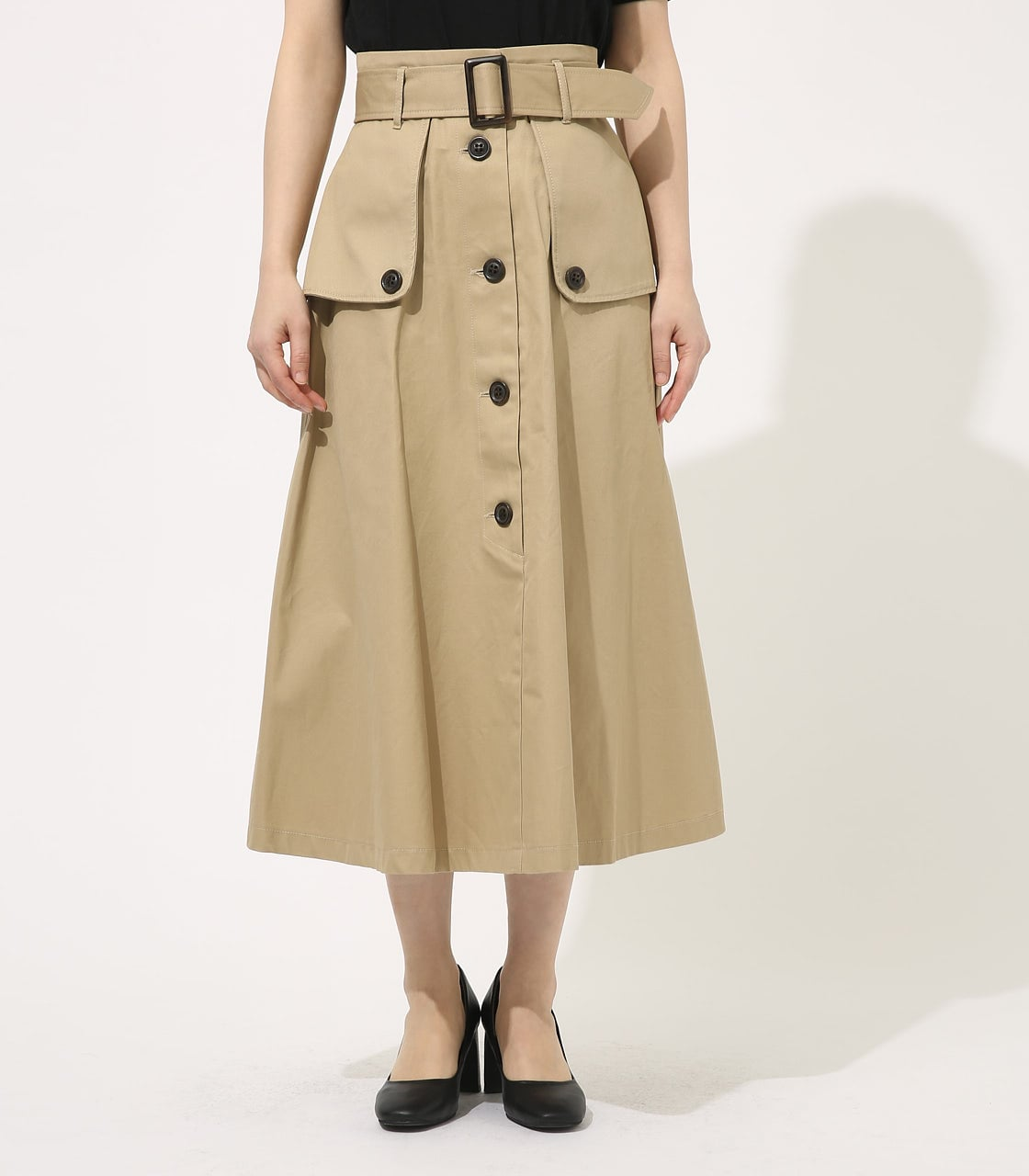【AZUL BY MOUSSY】TRENCH FLARE SKIRT 詳細画像 BEG 4