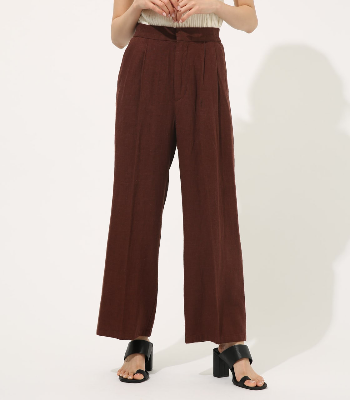 【AZUL BY MOUSSY】COTTON LINEN WIDE PANTS【MOOK50掲載 90131】 詳細画像 BRN 1
