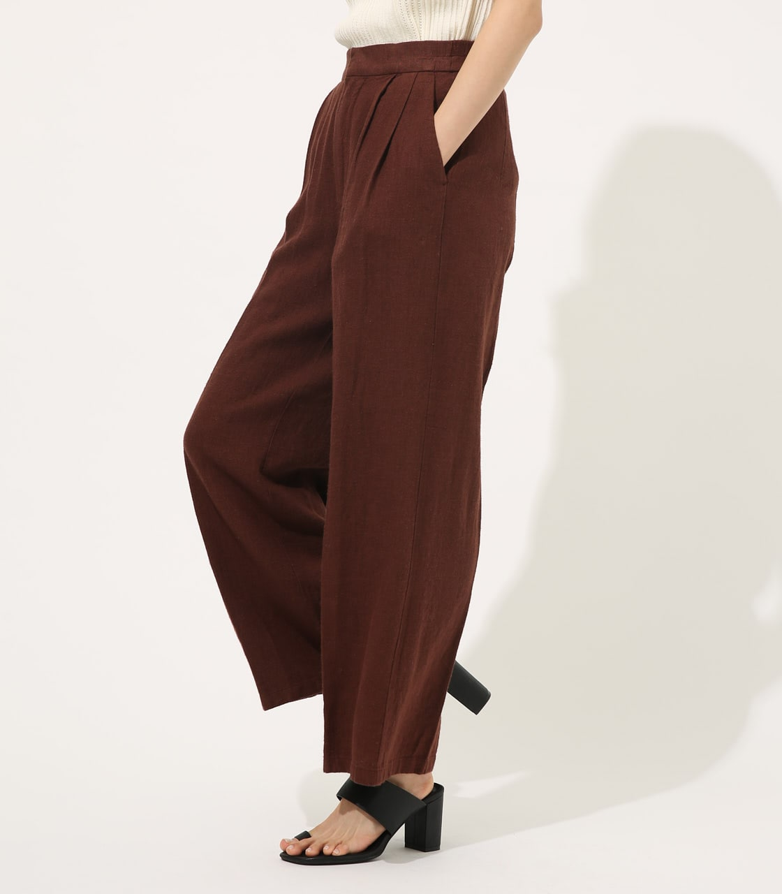 【AZUL BY MOUSSY】COTTON LINEN WIDE PANTS【MOOK50掲載 90131】 詳細画像 BRN 2