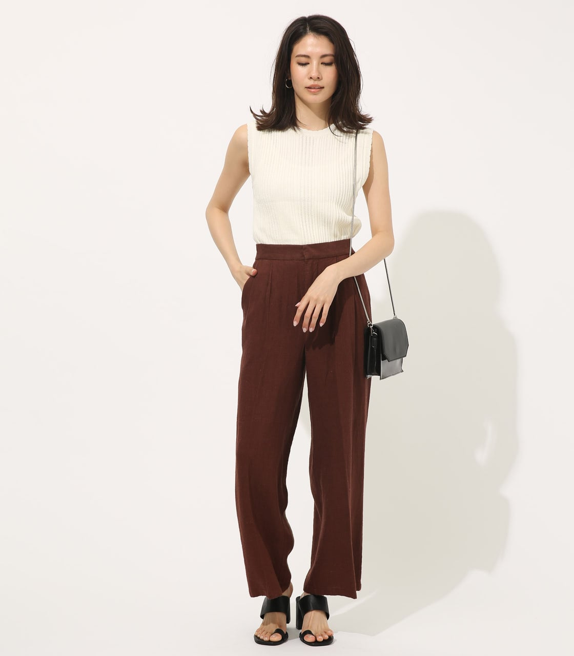 【AZUL BY MOUSSY】COTTON LINEN WIDE PANTS【MOOK50掲載 90131】 詳細画像 BRN 3