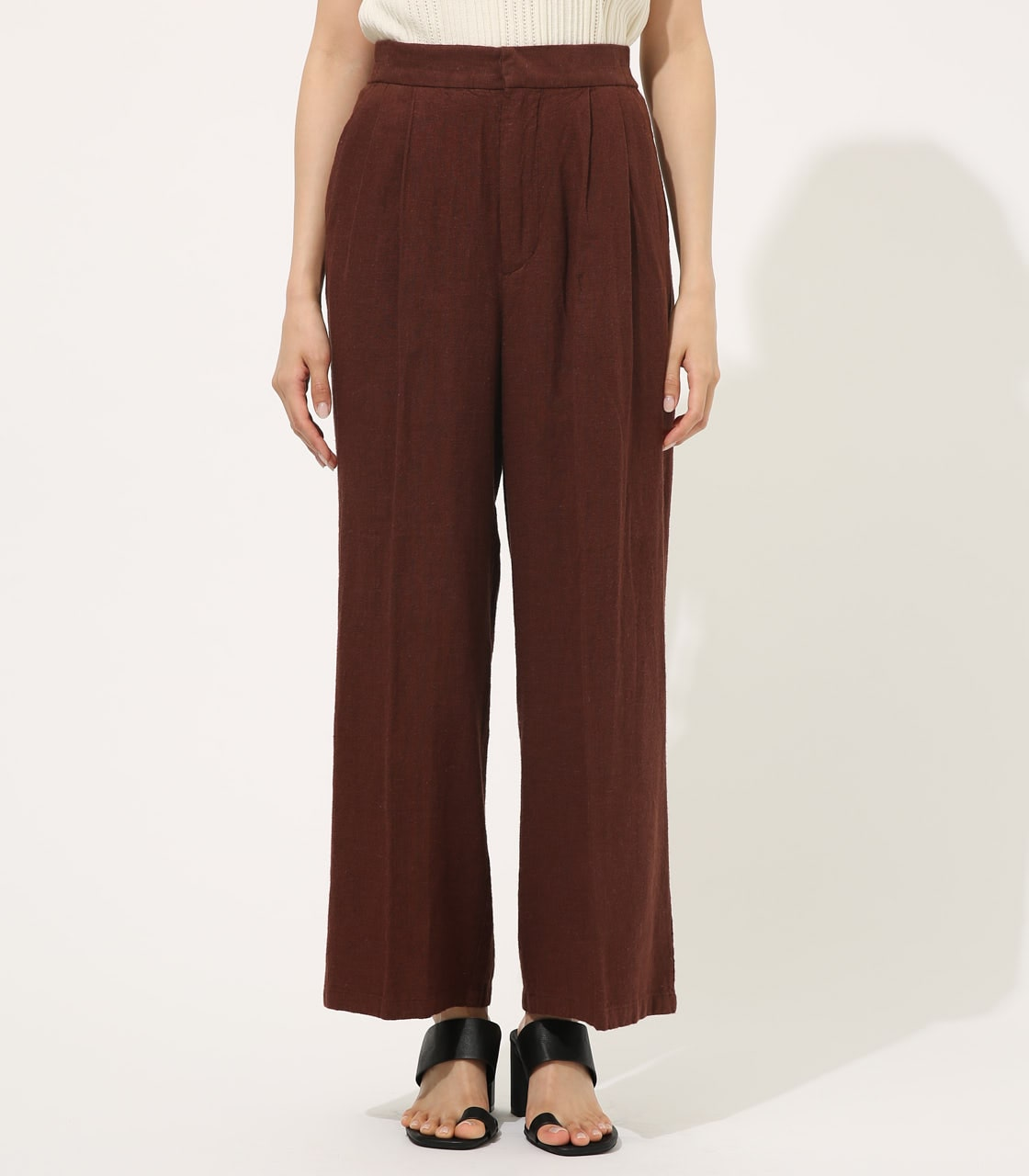 【AZUL BY MOUSSY】COTTON LINEN WIDE PANTS【MOOK50掲載 90131】 詳細画像 BRN 4