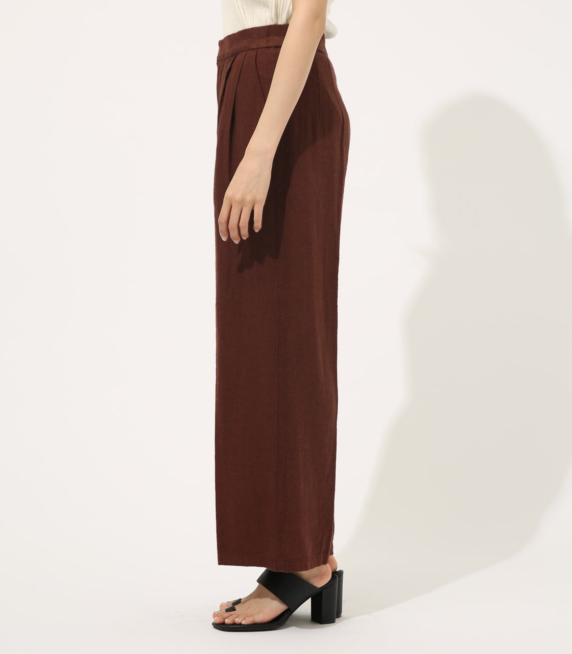 【AZUL BY MOUSSY】COTTON LINEN WIDE PANTS【MOOK50掲載 90131】 詳細画像 BRN 5