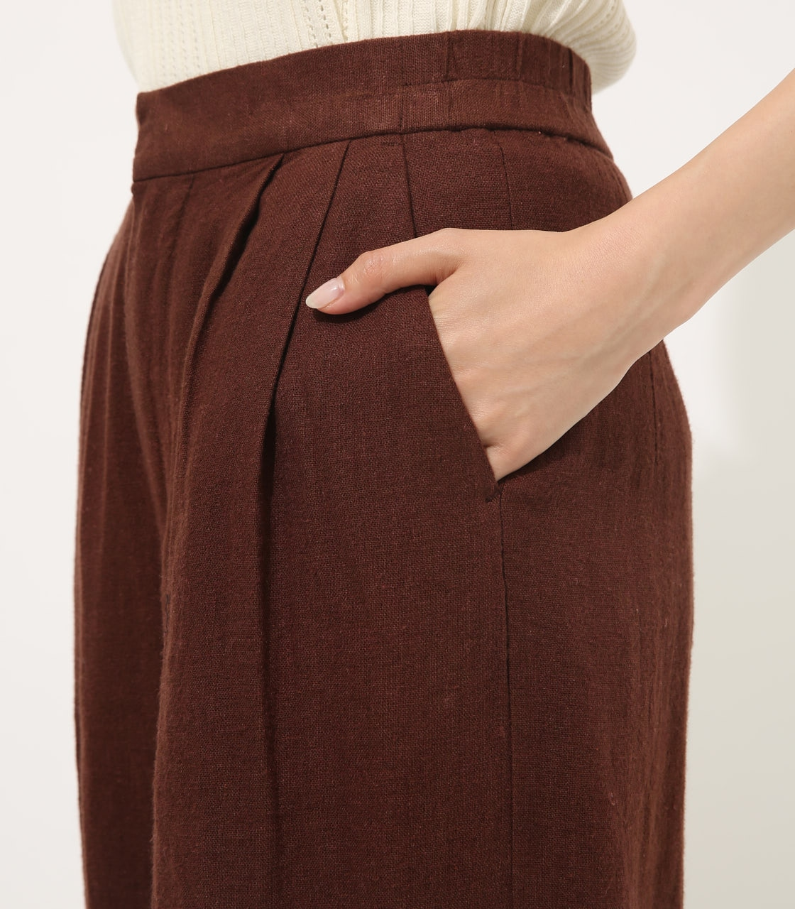 【AZUL BY MOUSSY】COTTON LINEN WIDE PANTS【MOOK50掲載 90131】 詳細画像 BRN 8