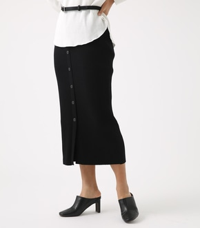 BUTTON RIB KNIT SKIRT