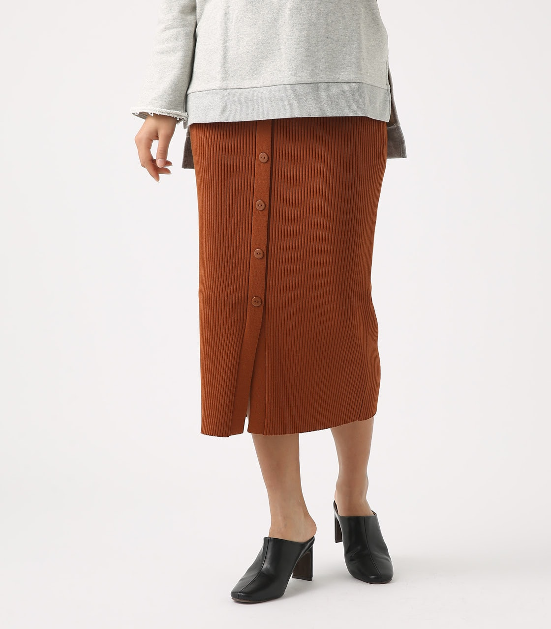 BUTTON RIB KNIT SKIRT 詳細画像 BRN 2