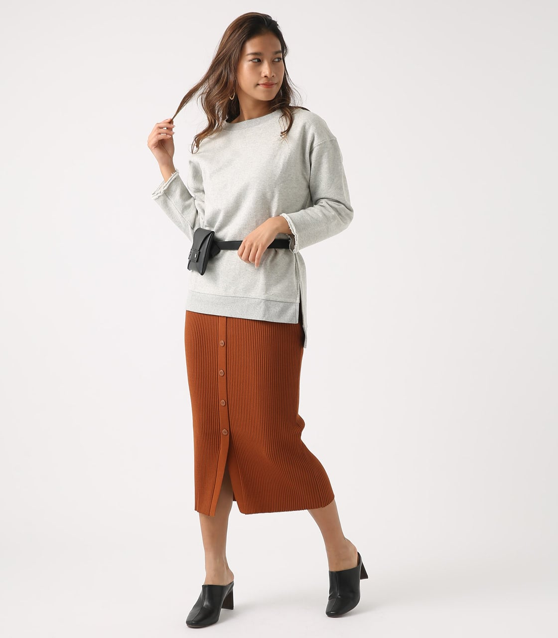 BUTTON RIB KNIT SKIRT 詳細画像 BRN 4