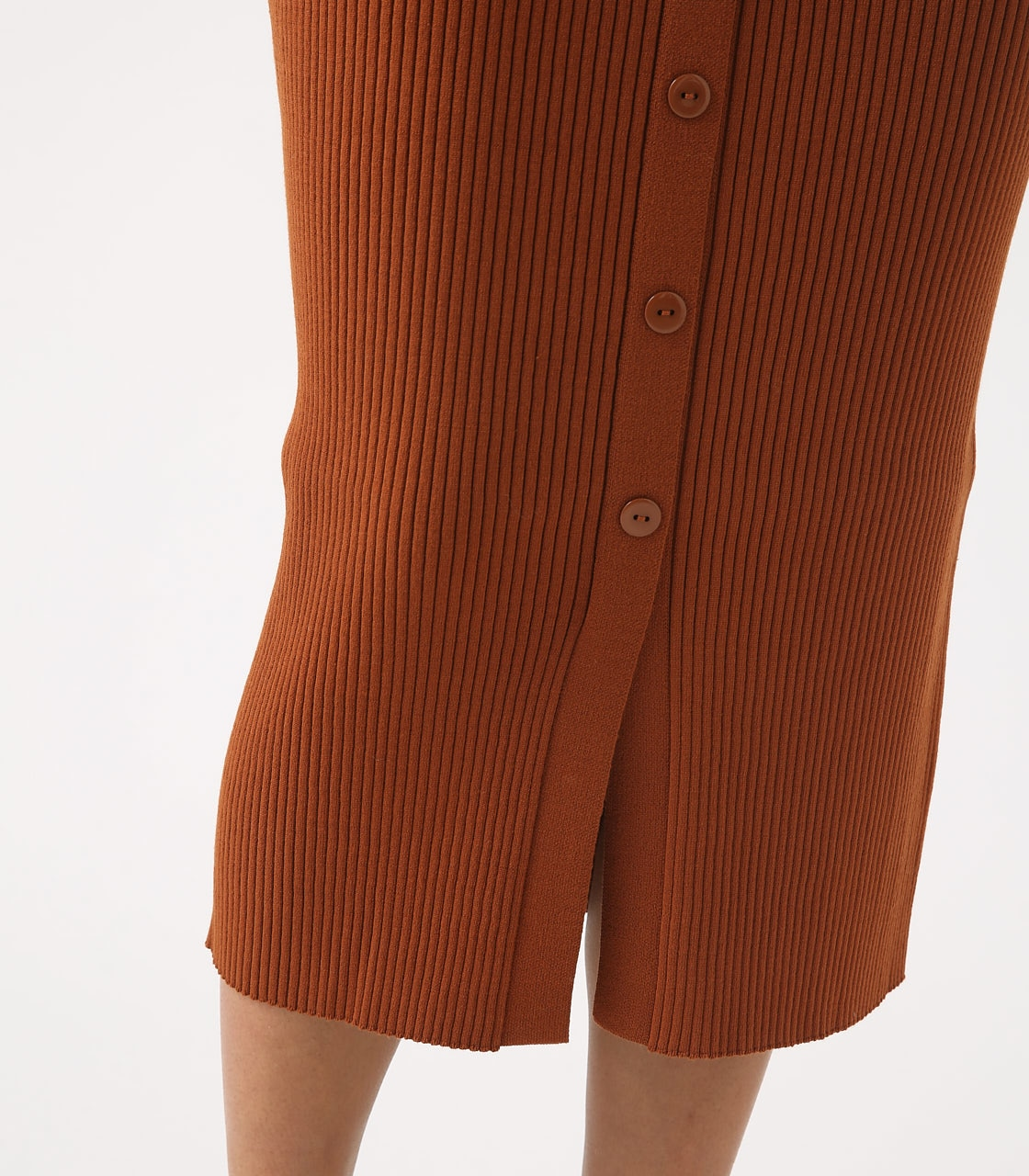 BUTTON RIB KNIT SKIRT 詳細画像 BRN 9