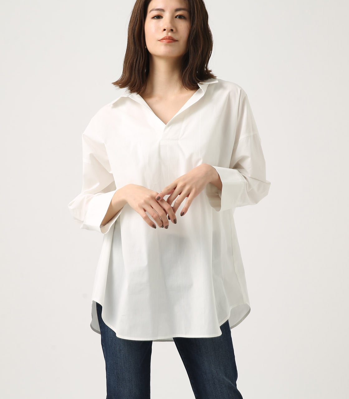 【AZUL BY MOUSSY】LOOSE SKIPPER SHIRT 詳細画像 O/WHT 1