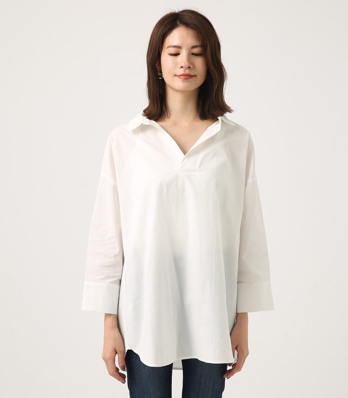 【AZUL BY MOUSSY】LOOSE SKIPPER SHIRT 詳細画像 O/WHT 4