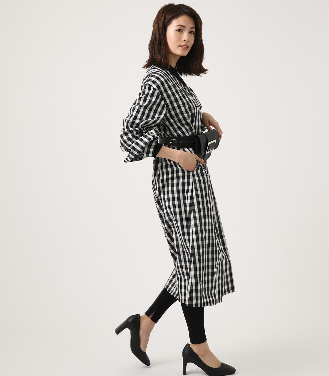 【AZUL BY MOUSSY】VOLUME SLEEVE SFLARE ONEPIECE 詳細画像 柄BLK 2