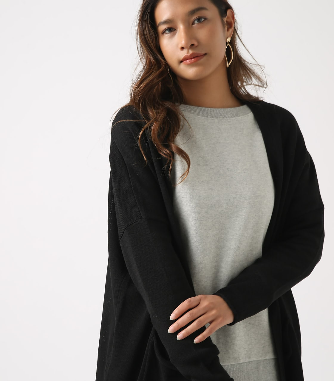 SHEER KNIT CARDIGAN 詳細画像 BLK 3