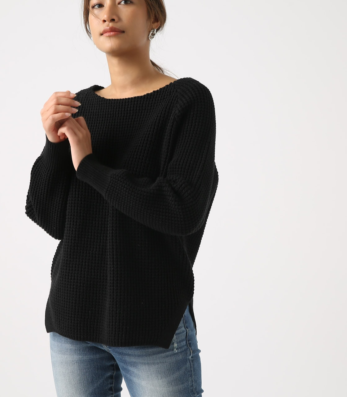 【AZUL BY MOUSSY】WAFFLE KNIT TUNIC 詳細画像 BLK 1