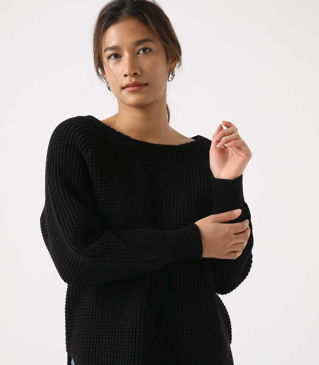 【AZUL BY MOUSSY】WAFFLE KNIT TUNIC 詳細画像 BLK 2