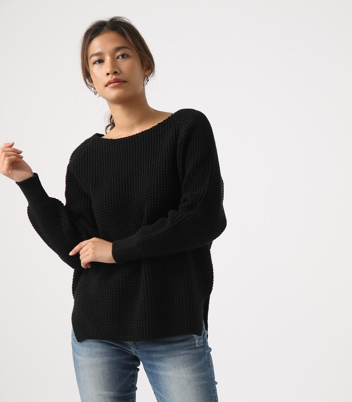 【AZUL BY MOUSSY】WAFFLE KNIT TUNIC 詳細画像 BLK 3