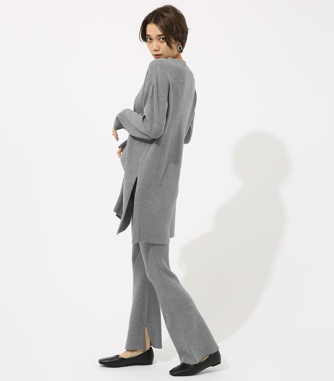 【AZUL BY MOUSSY】リブニットフレアパンツ 詳細画像 T.GRY 3