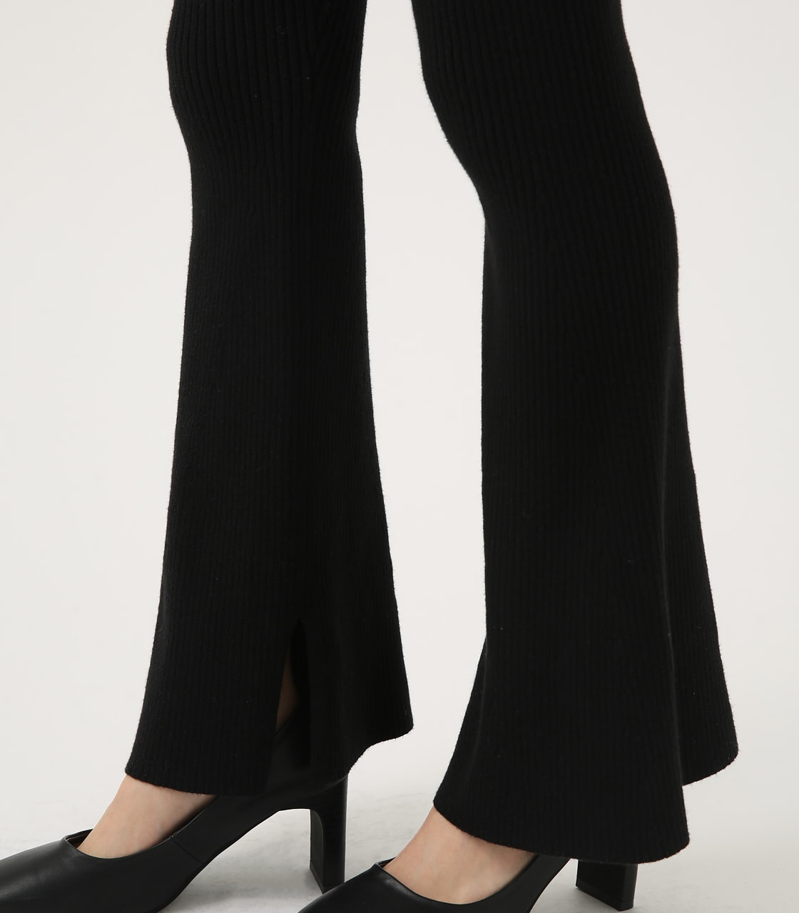 【AZUL BY MOUSSY】RIB KNIT FLARE PANTS 詳細画像 BLK 5