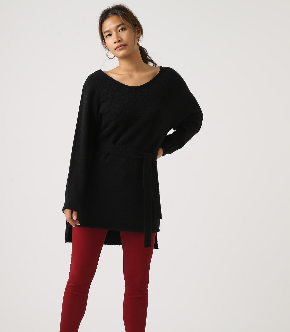 BELT SET V NECK KNIT TUNIC 詳細画像 BLK 1
