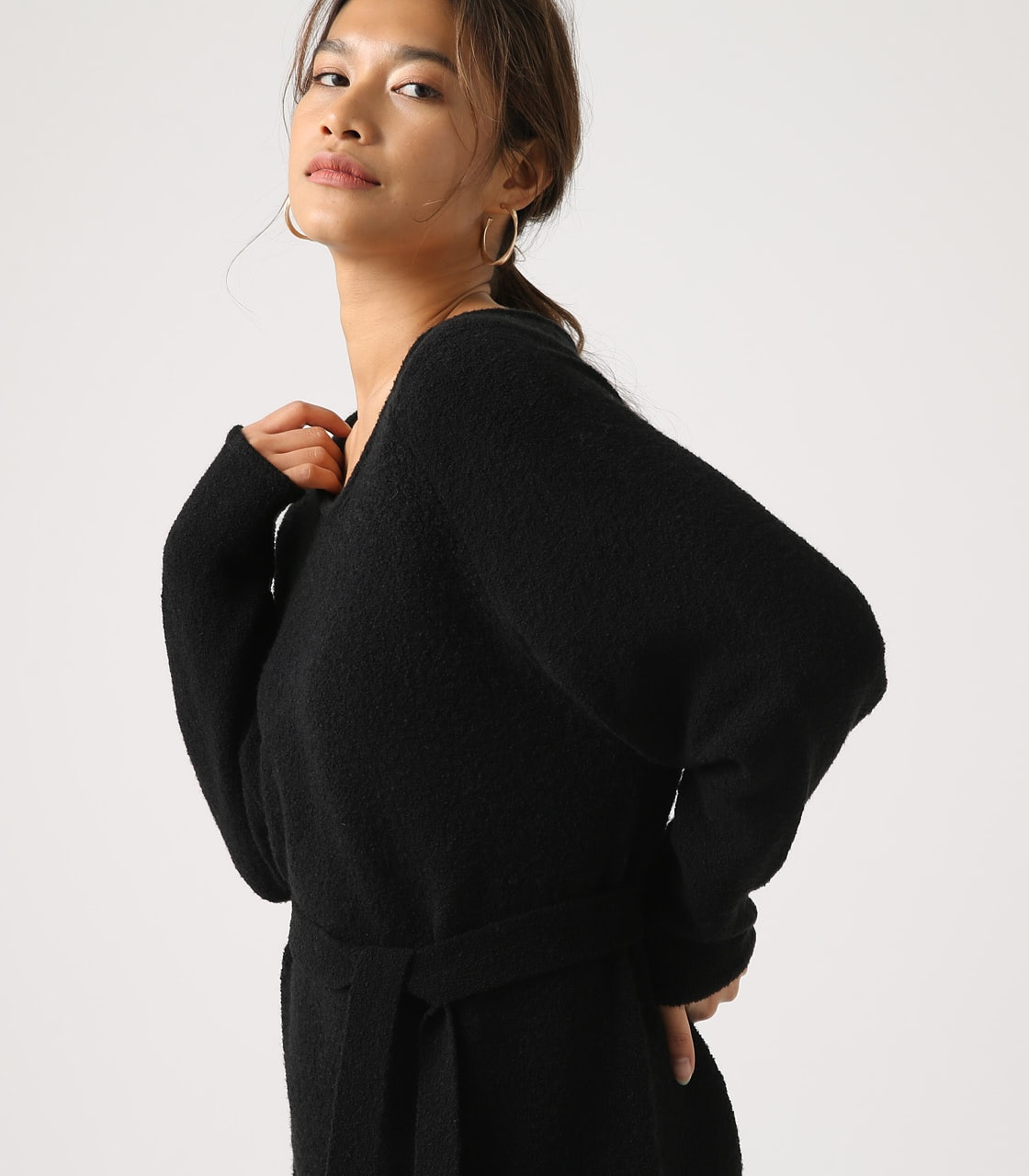 BELT SET V NECK KNIT TUNIC 詳細画像 BLK 2