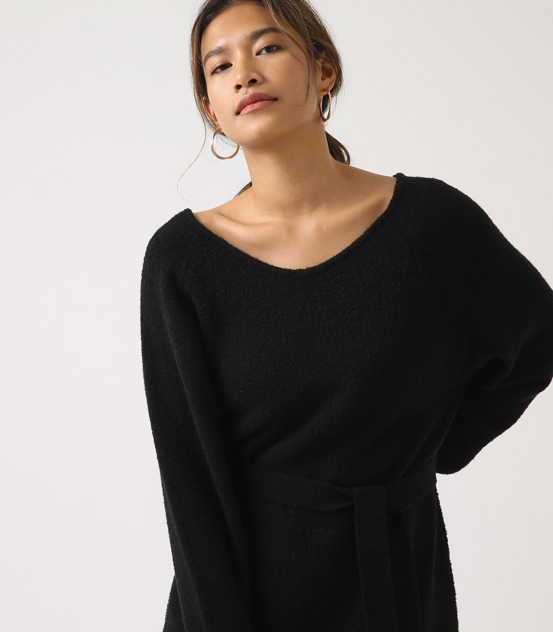 BELT SET V NECK KNIT TUNIC 詳細画像 BLK 3