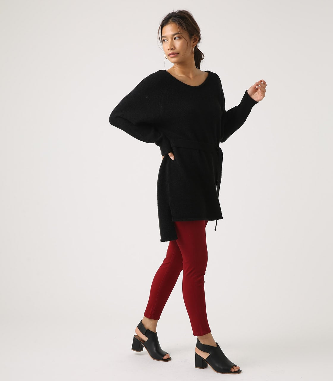 BELT SET V NECK KNIT TUNIC 詳細画像 BLK 4