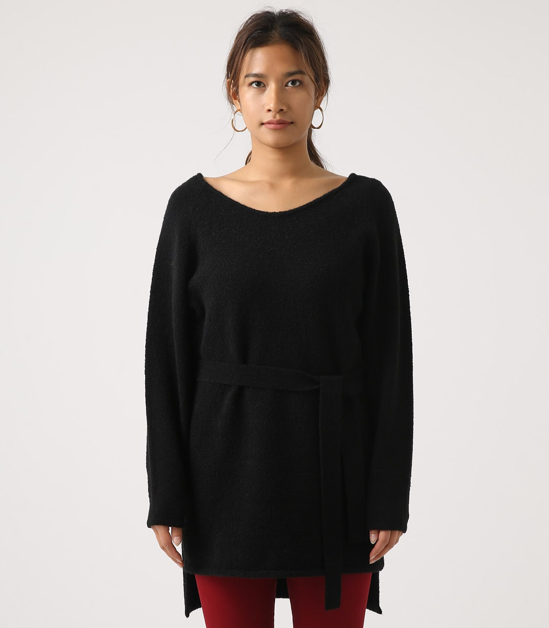 BELT SET V NECK KNIT TUNIC 詳細画像 BLK 5