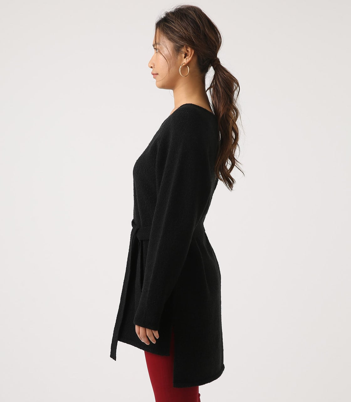 BELT SET V NECK KNIT TUNIC 詳細画像 BLK 6