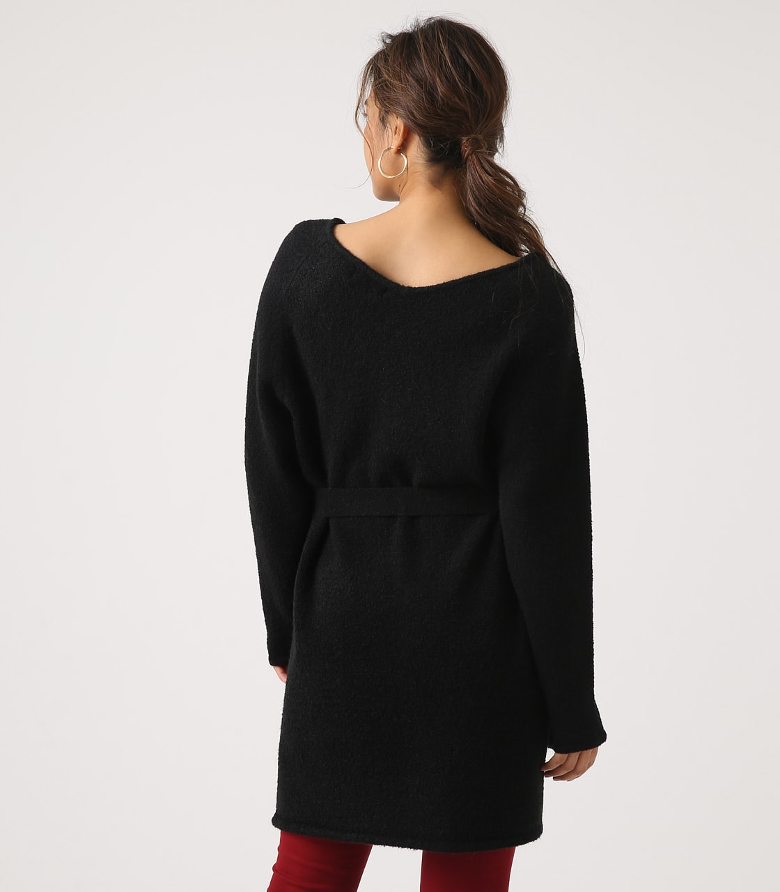 BELT SET V NECK KNIT TUNIC 詳細画像 BLK 7
