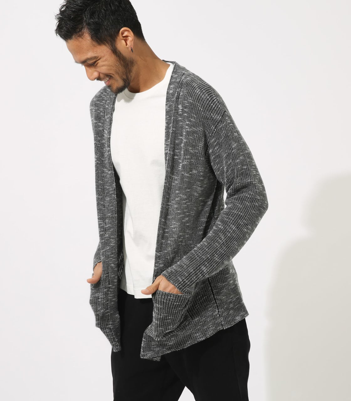 【AZUL BY MOUSSY】RIB STITCH CARDIGAN 詳細画像 柄BLK 1