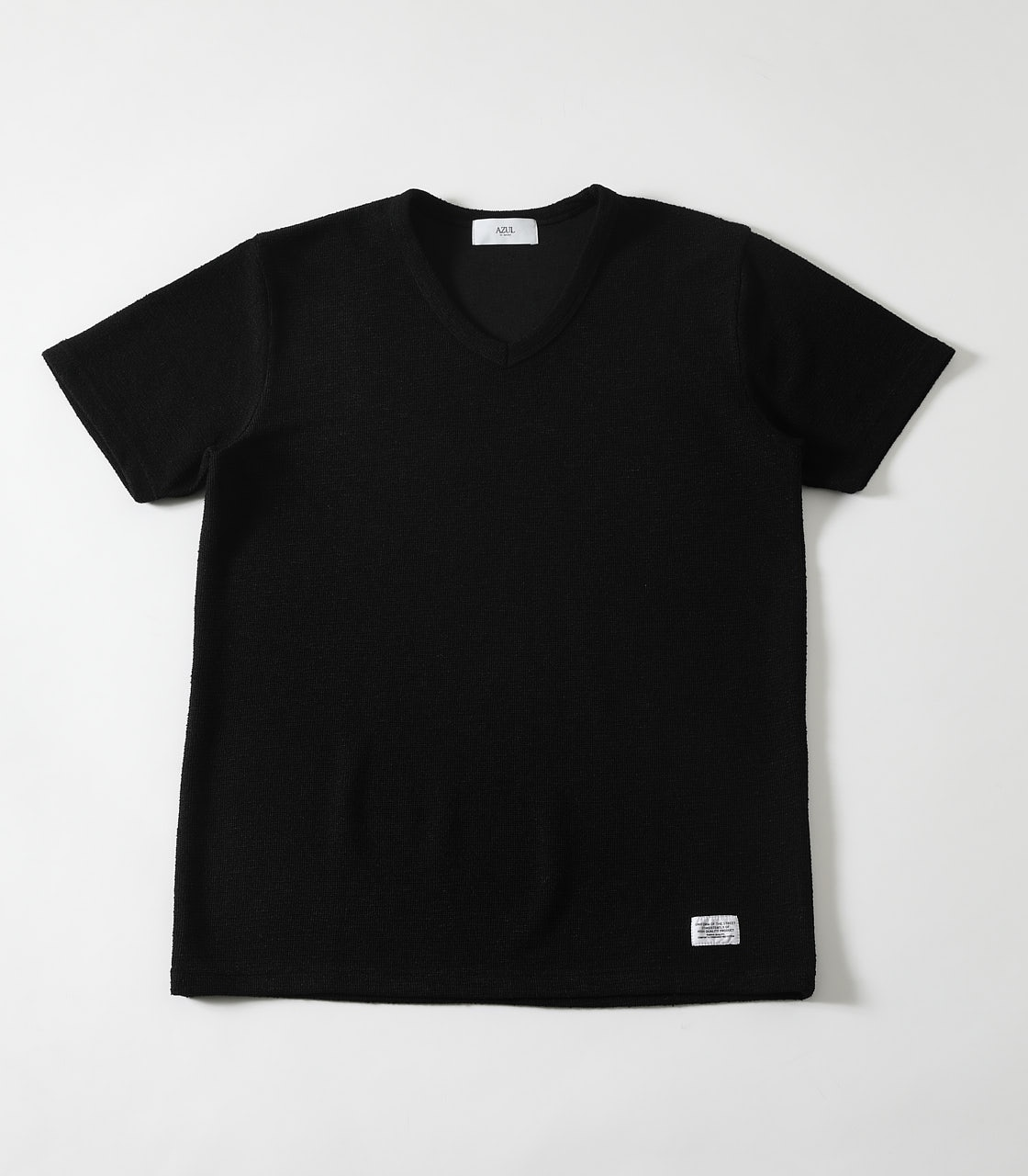 【AZUL BY MOUSSY】SLAB PILE Vネック T-SHIRTS 詳細画像 BLK 1