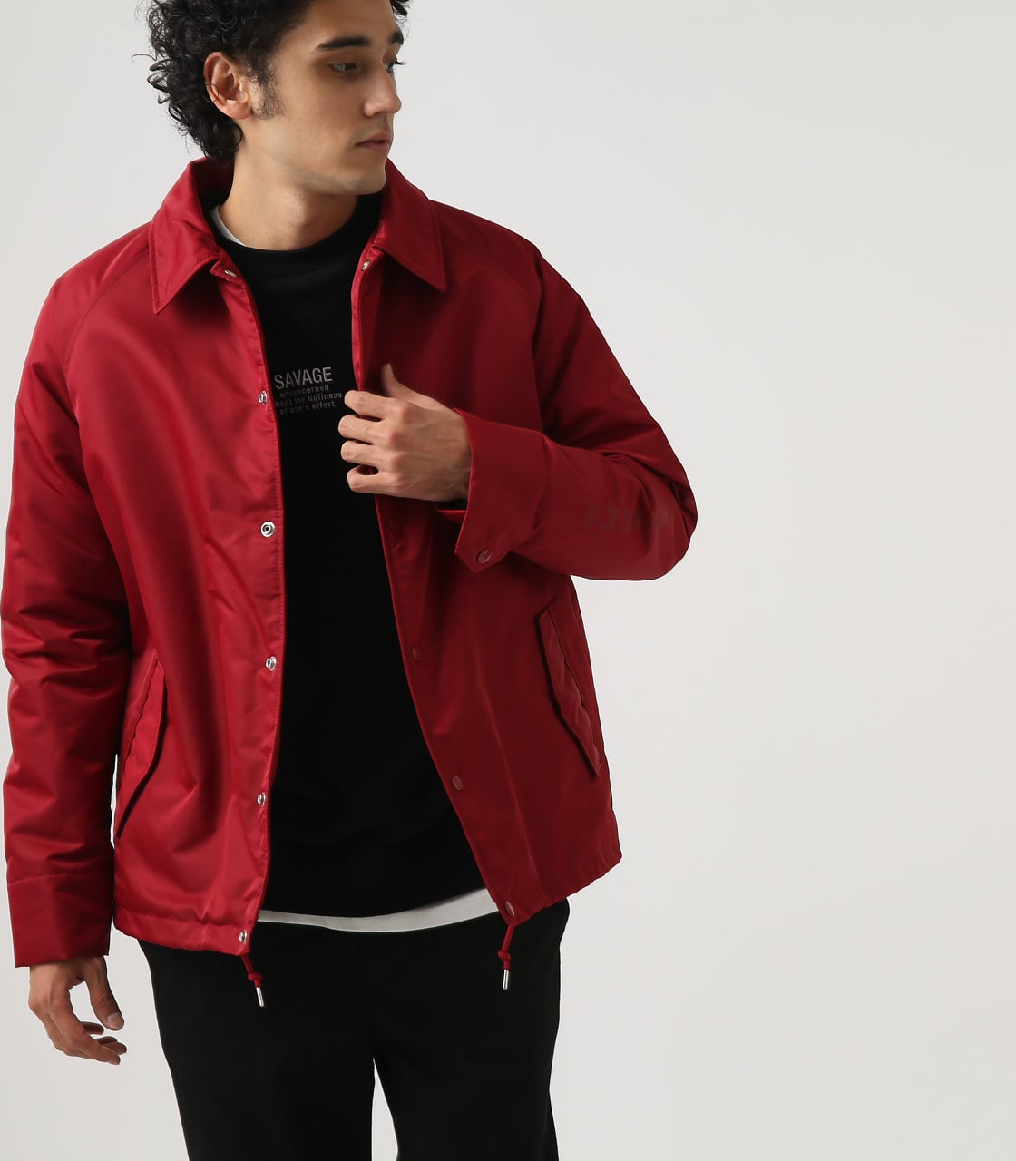 【AZUL BY MOUSSY】ヘビーツイルボアコーチジャケット 詳細画像 RED 2