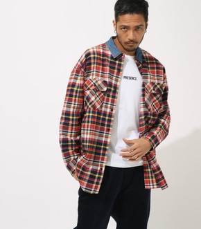 DENIM COLLAR BIG CHECK SHIRT