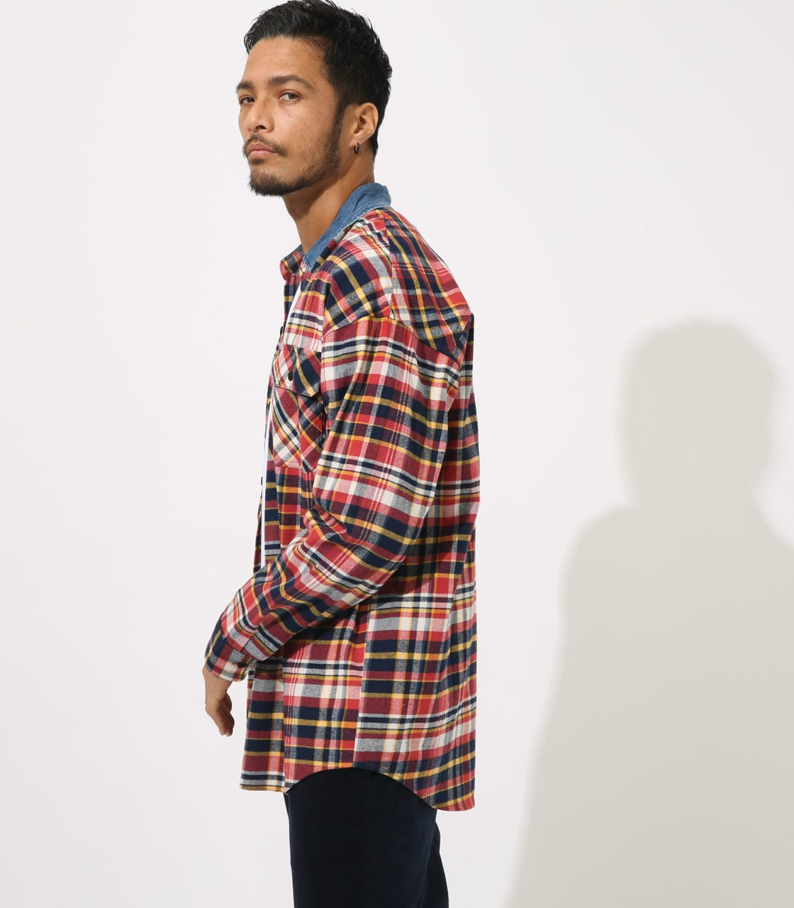 【AZUL BY MOUSSY】DENIM COLLAR BIG CHECK SHIRT 詳細画像 柄RED 2